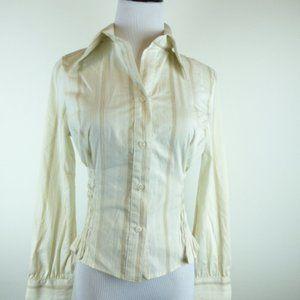 nwt BEBE beige white stripe long sleeve shirt S